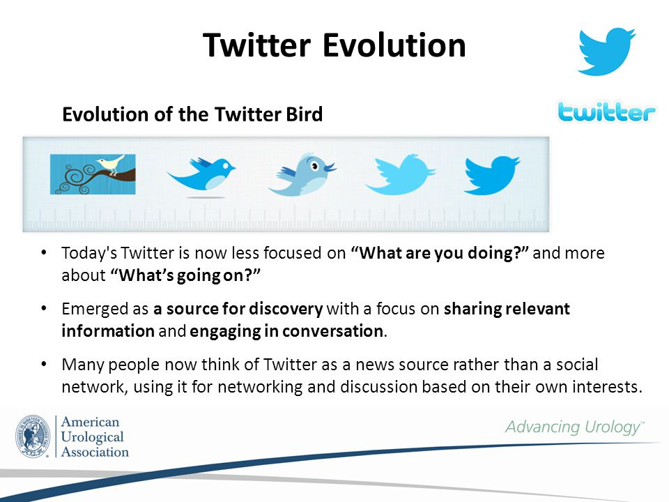 Twitter Evolution Today s Twitter is now less focused on What are you doing and more about What's going on Emerged as a source for discovery with a focus on sharing relevant information and engaging in conversation.