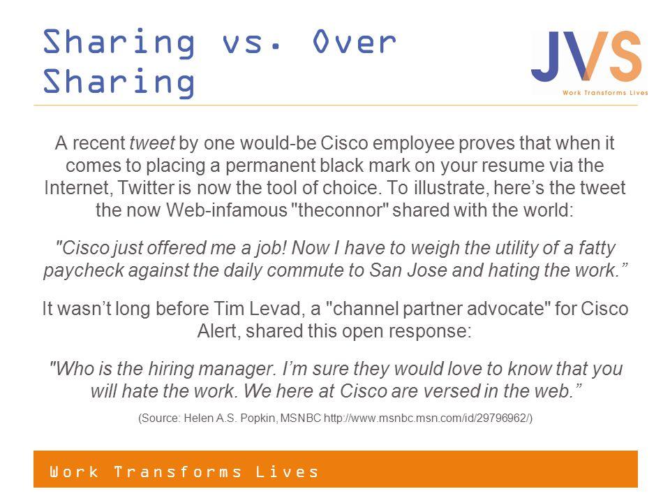 Work Transforms Lives Sharing vs.