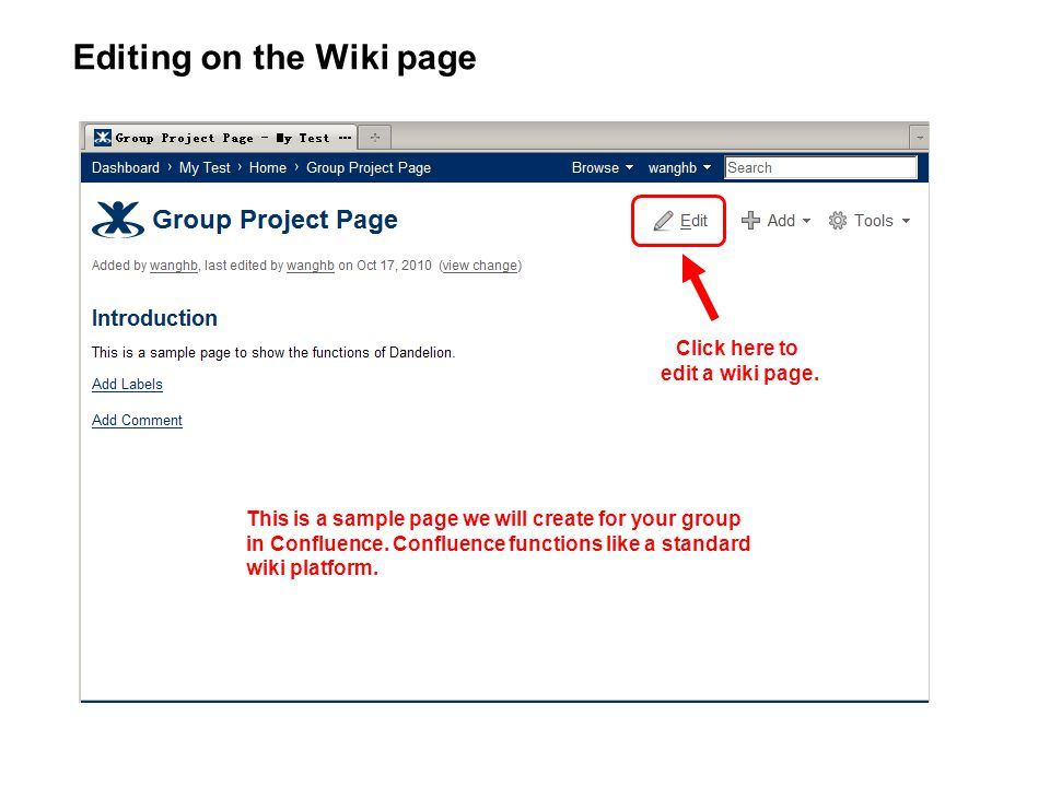 Click here to edit a wiki page. Editing on the Wiki page This is a sample page we will create for your group in Confluence. Confluence functions like
