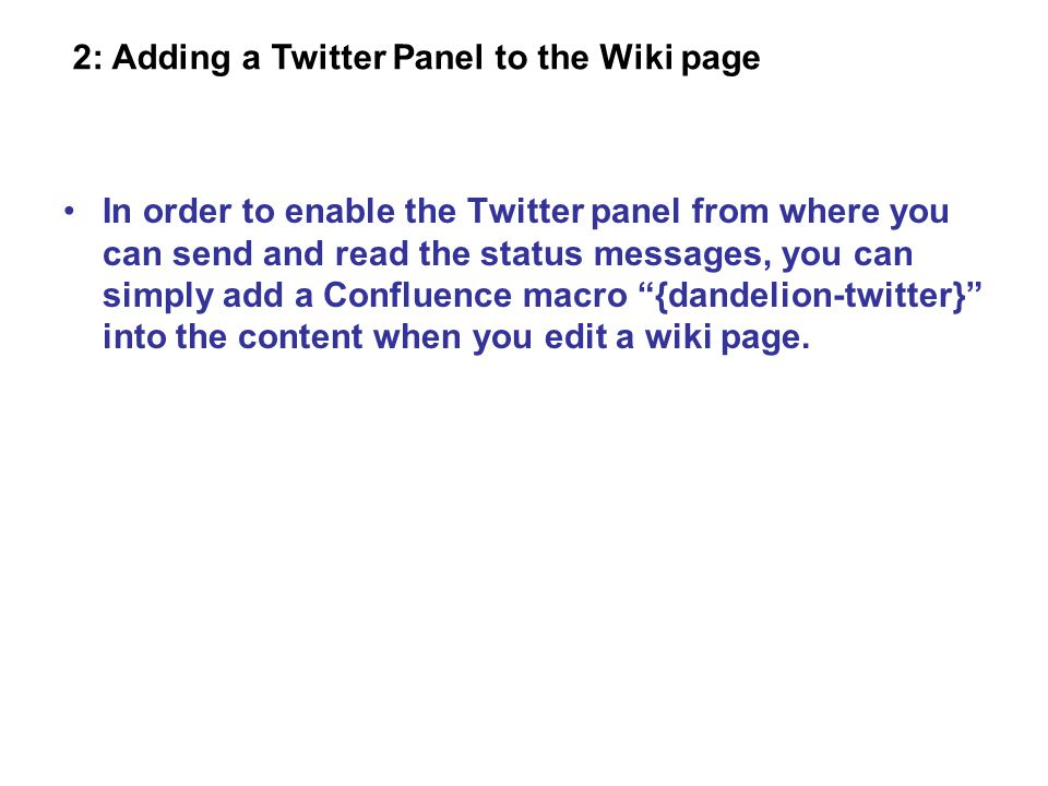 Enable the Twitter panel in a wiki page.