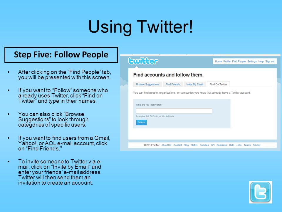 Using Twitter. After clicking on the Find People tab, you will be presented with this screen.