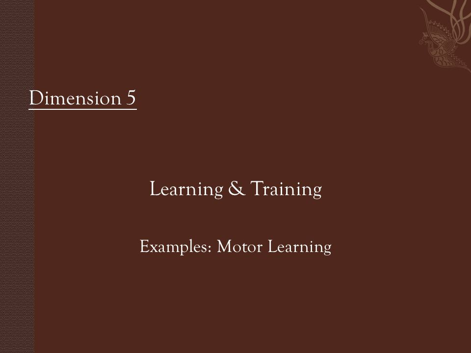 Dimension 5 Learning & Training Examples: Motor Learning