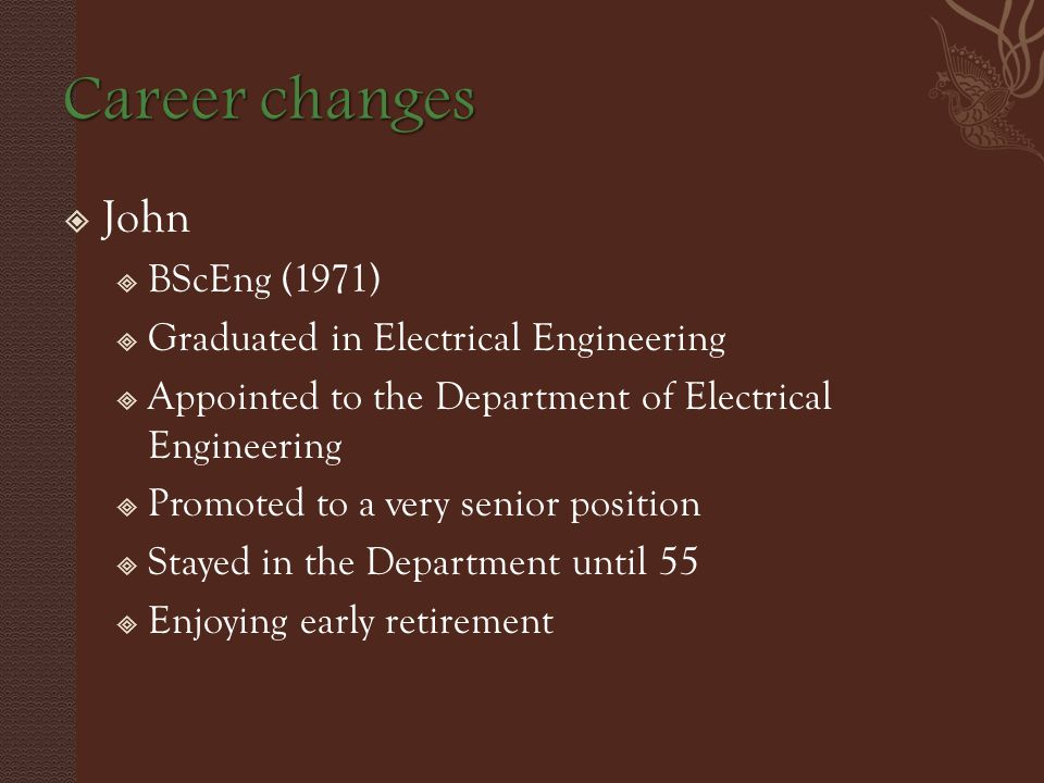  John  BScEng (1971)  Graduated in Electrical Engineering  Appointed to the Department of Electrical Engineering  Promoted to a very senior position  Stayed in the Department until 55  Enjoying early retirement