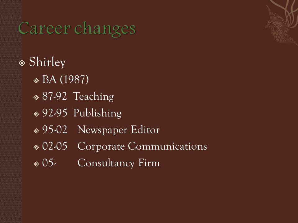  Shirley  BA (1987)  87-92 Teaching  92-95 Publishing  95-02Newspaper Editor  02-05Corporate Communications  05-Consultancy Firm