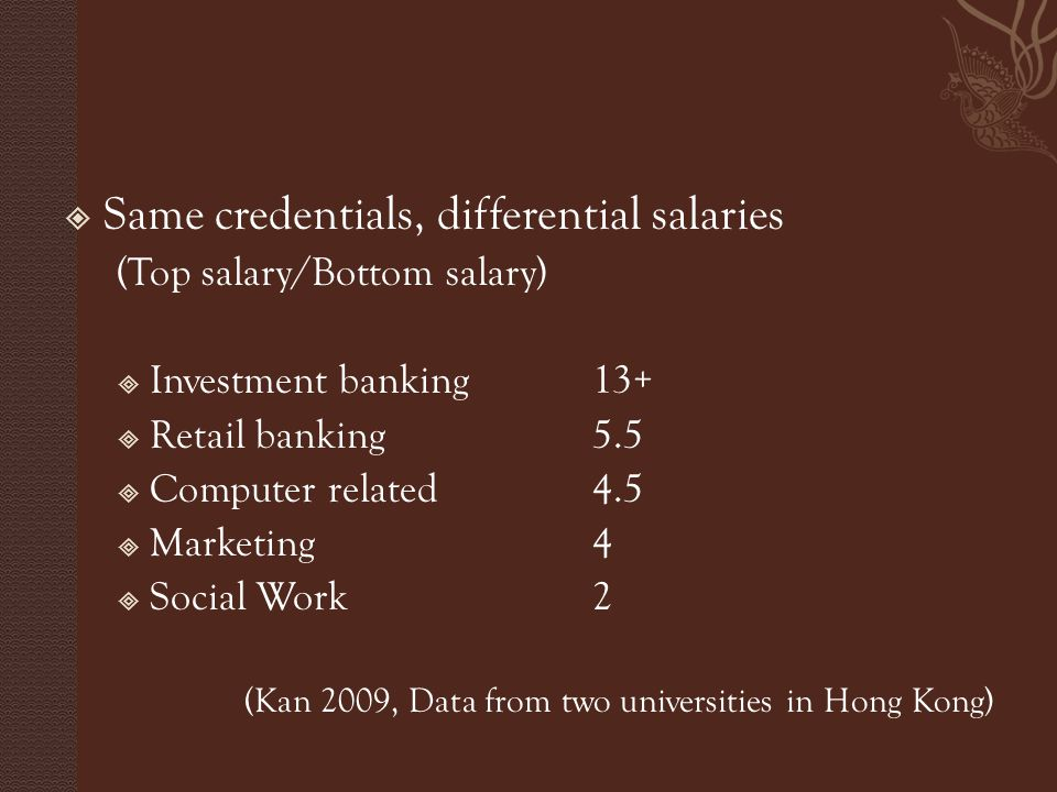  Same credentials, differential salaries (Top salary/Bottom salary)  Investment banking 13+  Retail banking 5.5  Computer related 4.5  Marketing 4  Social Work 2 (Kan 2009, Data from two universities in Hong Kong)