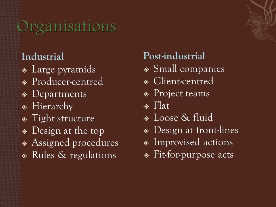 Industrial  Large pyramids  Producer-centred  Departments  Hierarchy  Tight structure  Design at the top  Assigned procedures  Rules & regulations Post-industrial  Small companies  Client-centred  Project teams  Flat  Loose & fluid  Design at front-lines  Improvised actions  Fit-for-purpose acts
