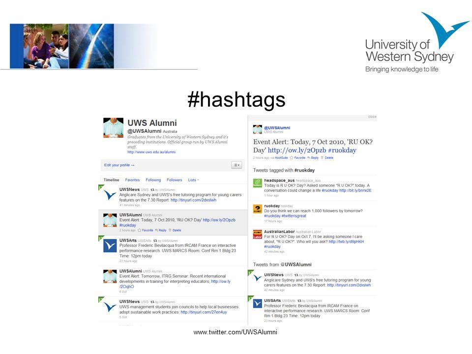 #hashtags www.twitter.com/UWSAlumni