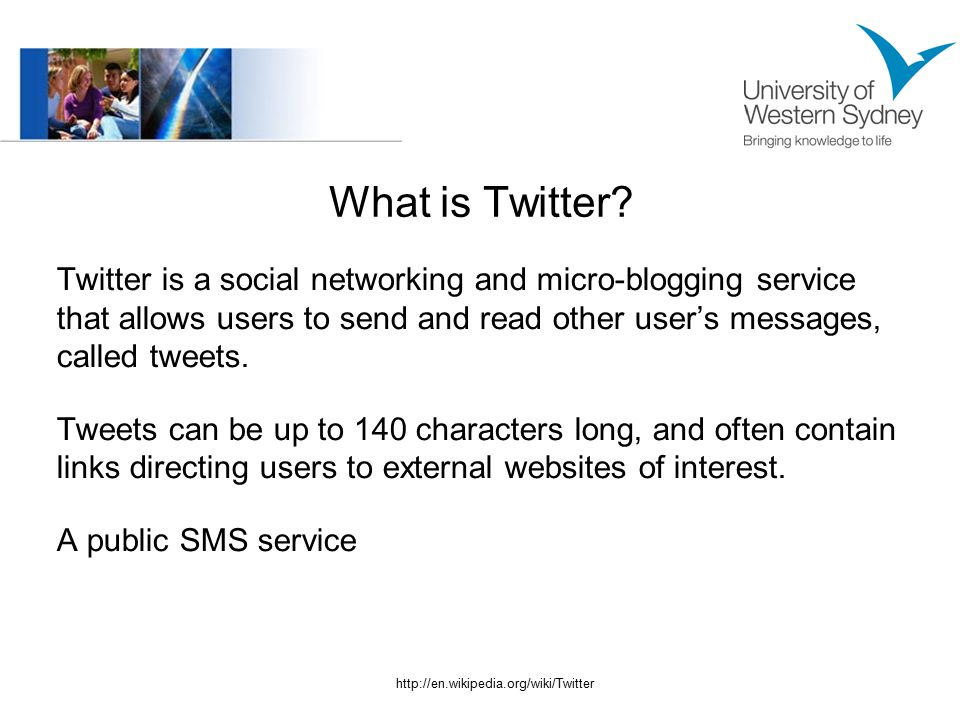 What is Twitter? Twitter is a social networking and micro-blogging service that allows users to send and read other user's messages, called tweets. Tw