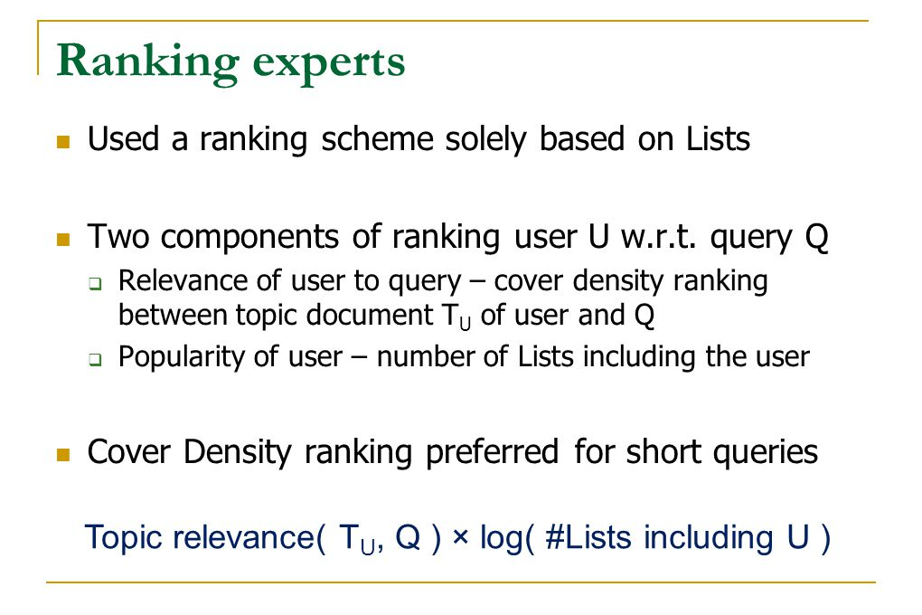 Ranking experts Used a ranking scheme solely based on Lists Two components of ranking user U w.r.t. query Q  Relevance of user to query – cover densi