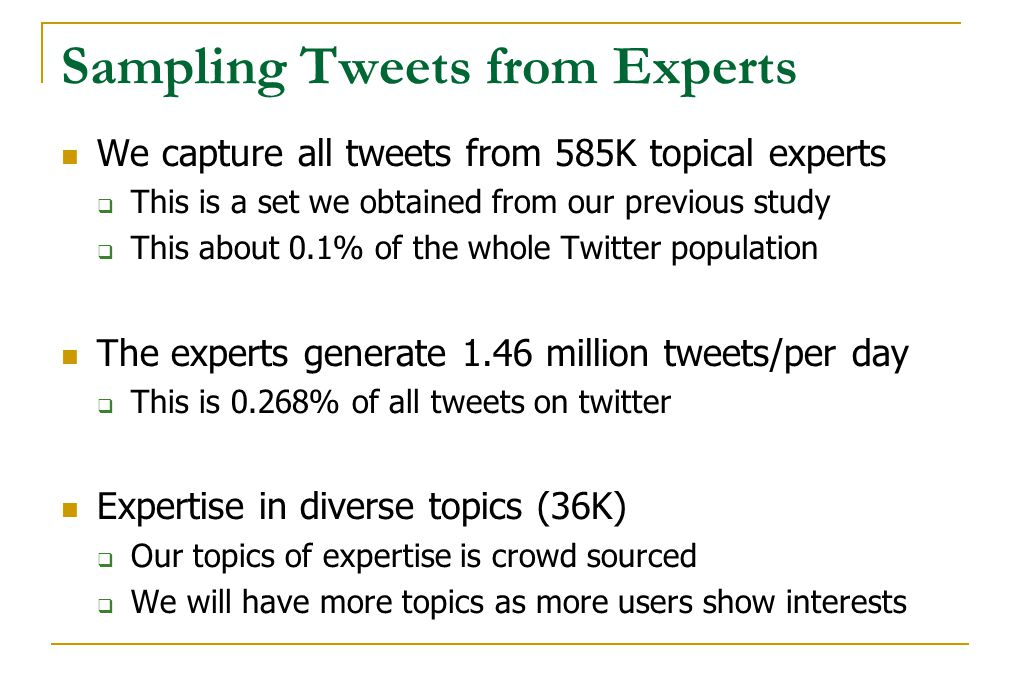 Sampling Tweets from Experts We capture all tweets from 585K topical experts  This is a set we obtained from our previous study  This about 0.1% of