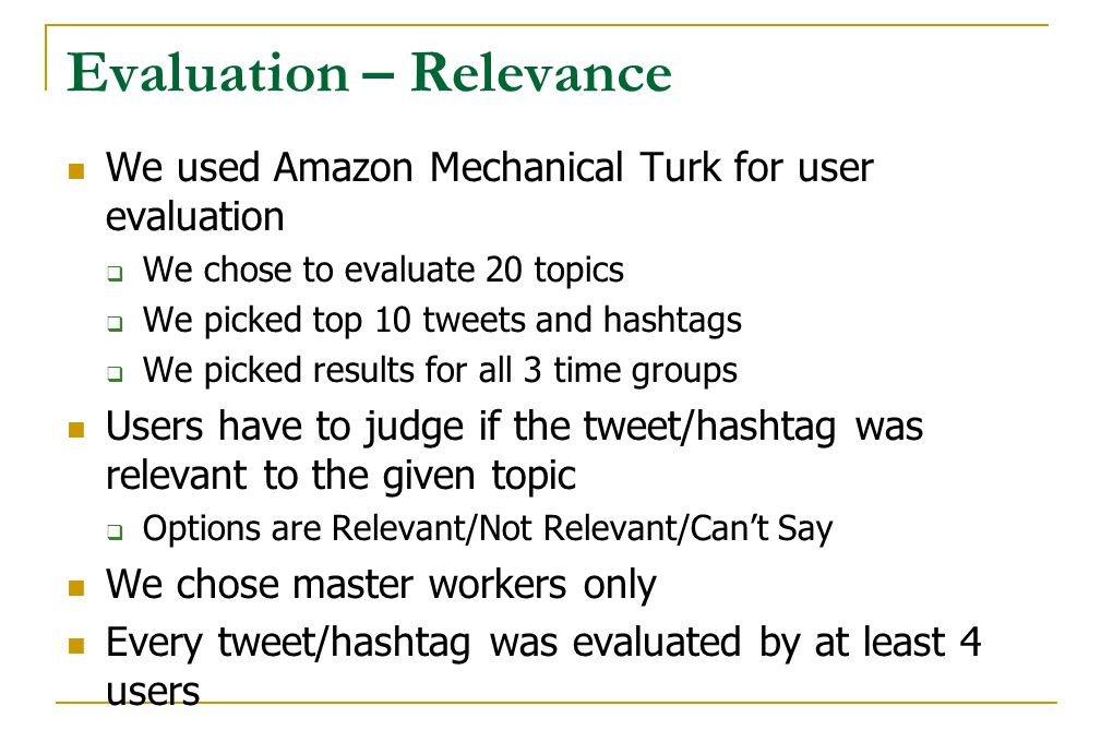 Evaluation – Relevance We used Amazon Mechanical Turk for user evaluation  We chose to evaluate 20 topics  We picked top 10 tweets and hashtags  We
