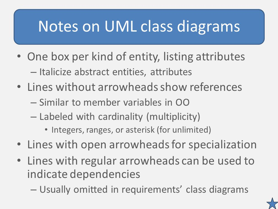 Notes on UML class diagrams One box per kind of entity, listing attributes – Italicize abstract entities, attributes Lines without arrowheads show references – Similar to member variables in OO – Labeled with cardinality (multiplicity) Integers, ranges, or asterisk (for unlimited) Lines with open arrowheads for specialization Lines with regular arrowheads can be used to indicate dependencies – Usually omitted in requirements' class diagrams
