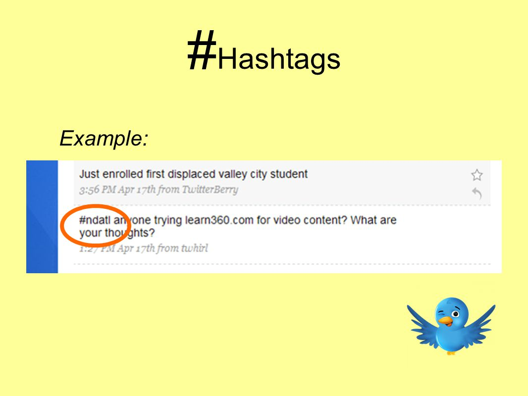 # Hashtags Example: