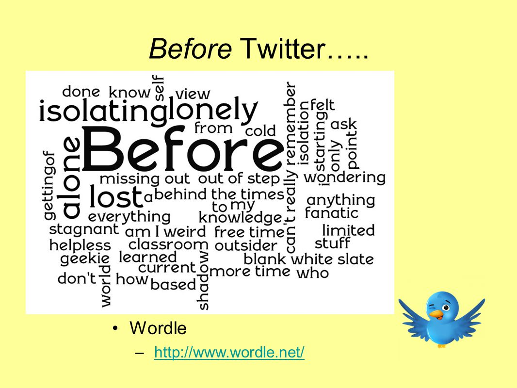 Wordle – http://www.wordle.net/http://www.wordle.net/ Before Twitter…..