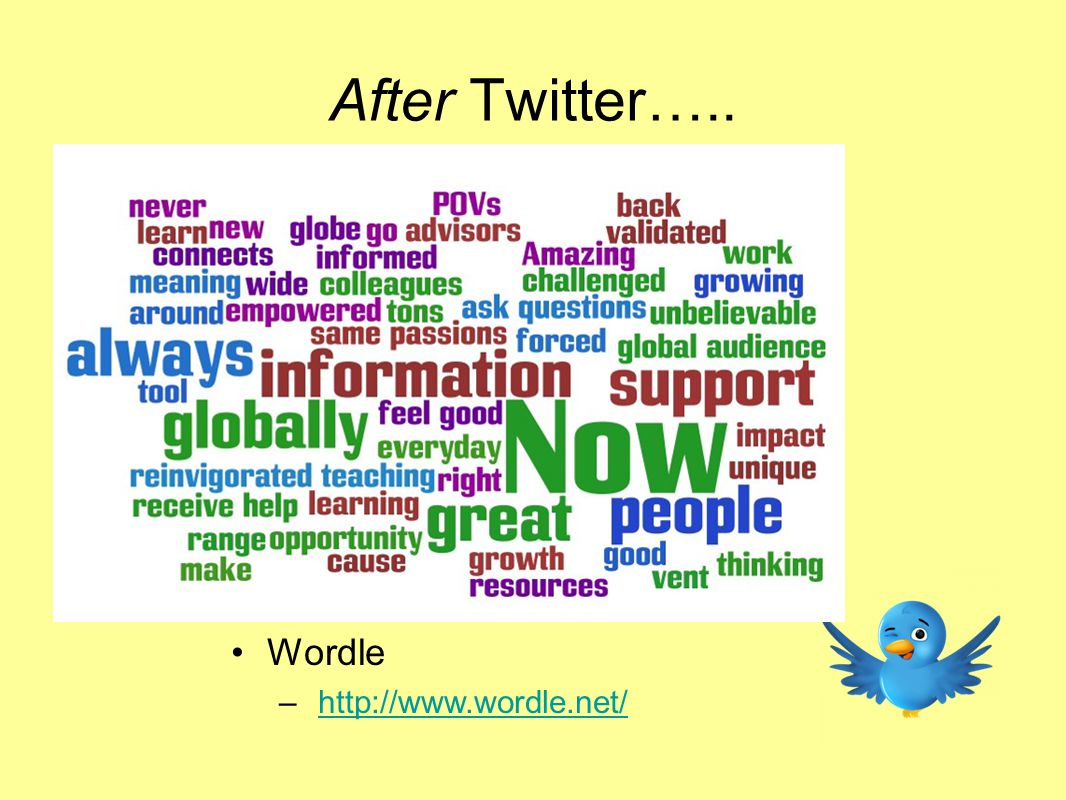 Wordle – http://www.wordle.net/http://www.wordle.net/ After Twitter…..