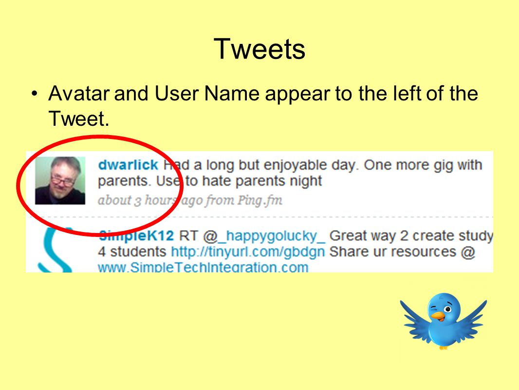 Tweets Avatar and User Name appear to the left of the Tweet.