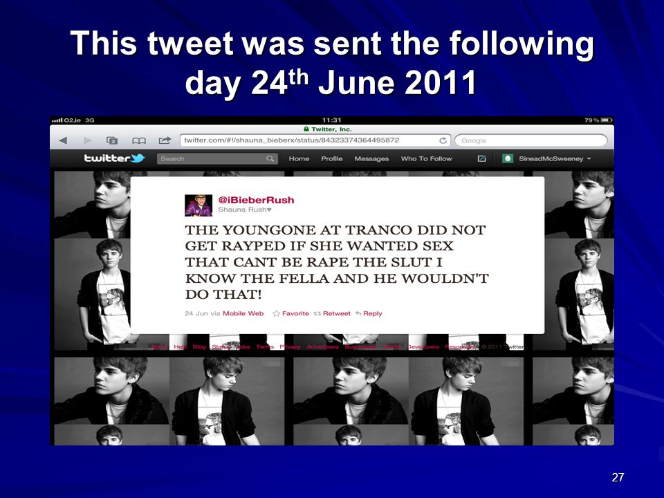 27 This tweet was sent the following day 24 th June 2011