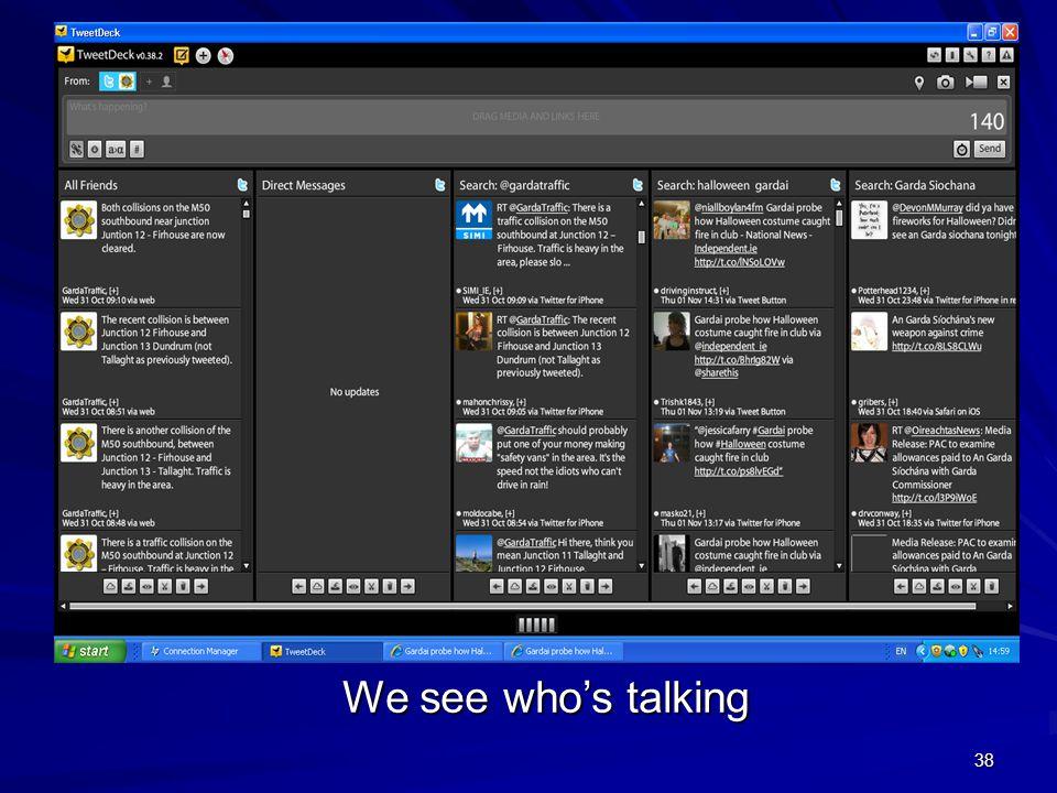 38 Tweetdeck We see who's talking
