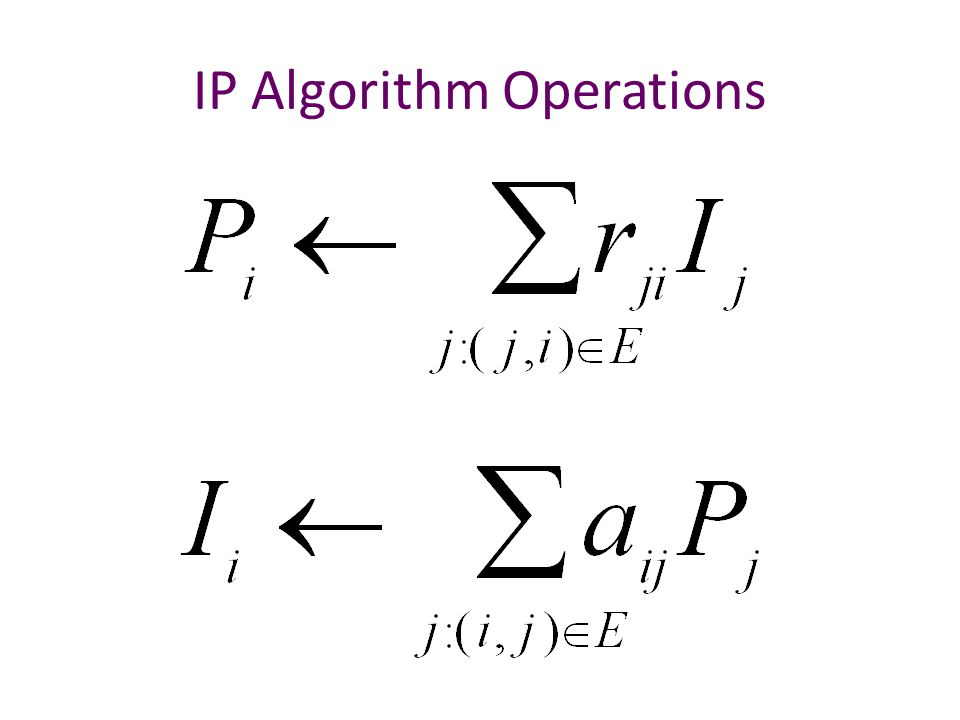 IP Algorithm Operations