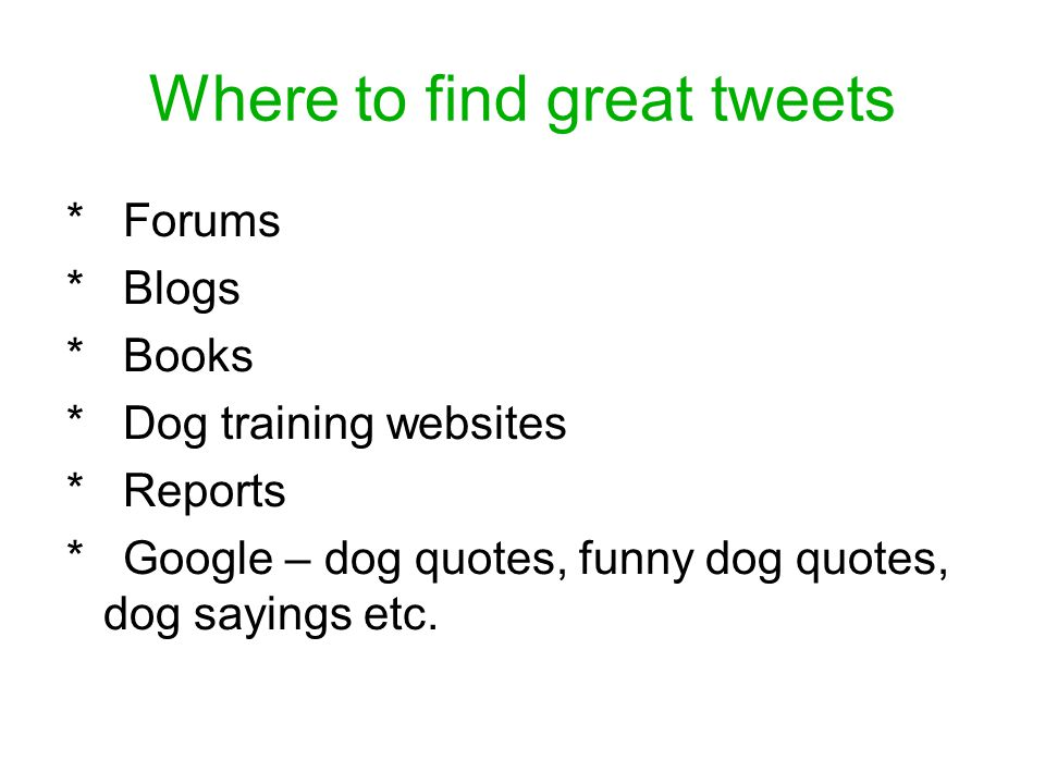 Where to find great tweets * Forums * Blogs * Books * Dog training websites * Reports * Google – dog quotes, funny dog quotes, dog sayings etc.