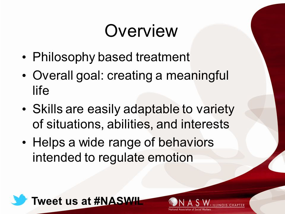 Overview Philosophy based treatment Overall goal: creating a meaningful life Skills are easily adaptable to variety of situations, abilities, and interests Helps a wide range of behaviors intended to regulate emotion Tweet us at #NASWIL