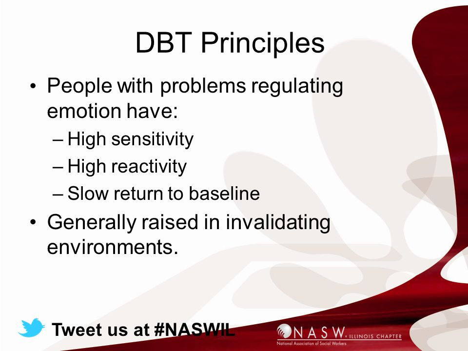 DBT Principles People with problems regulating emotion have: –High sensitivity –High reactivity –Slow return to baseline Generally raised in invalidating environments.