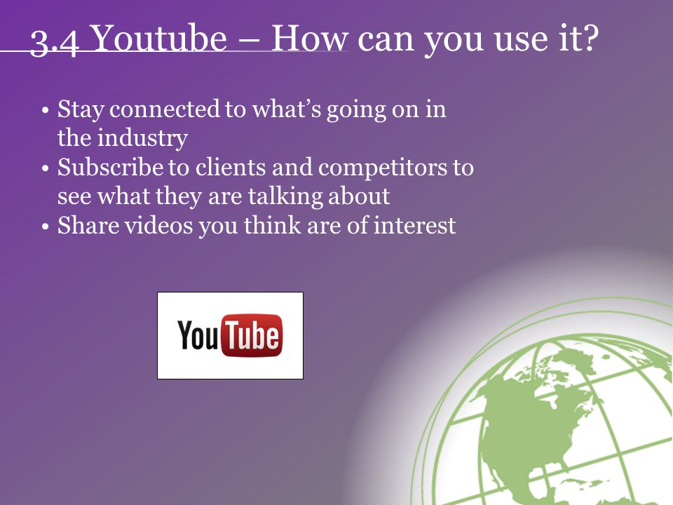 3.4 Youtube – How can you use it.