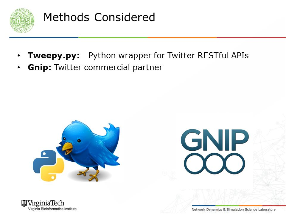 Tweepy.py:Python wrapper for Twitter RESTful APIs Gnip: Twitter commercial partner Methods Considered
