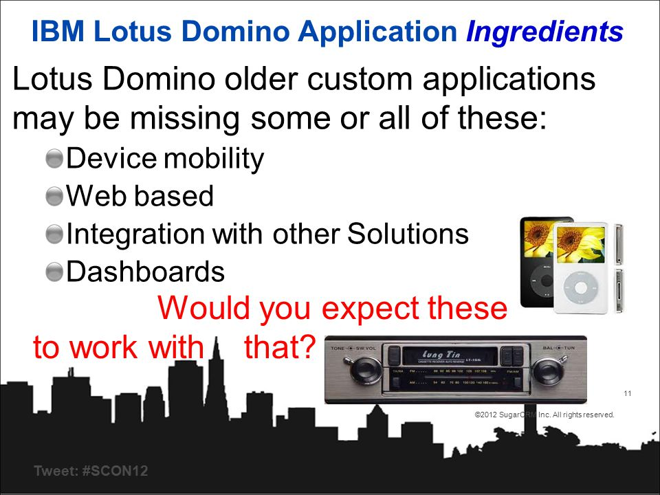 Tweet: #SCON12 4/23/2015 ©2012 SugarCRM Inc. All rights reserved. 11 IBM Lotus Domino Application Ingredients Lotus Domino older custom applications m