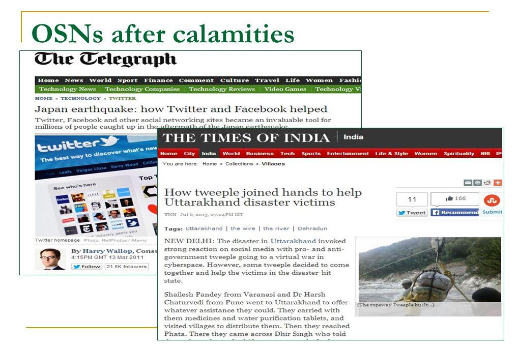 OSNs after calamities