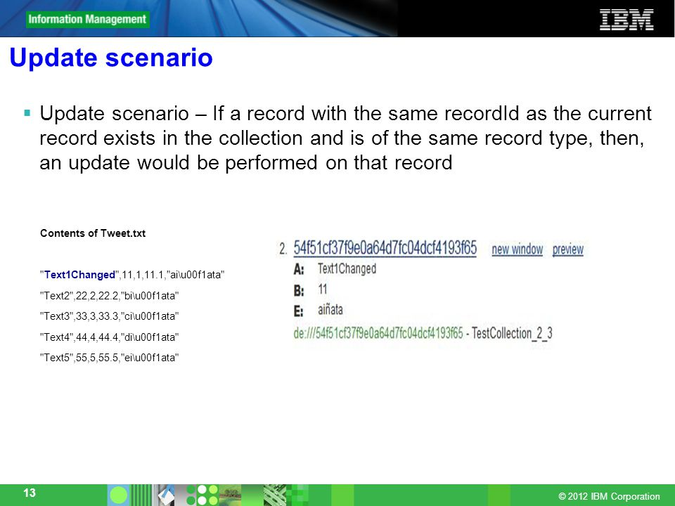 © 2012 IBM Corporation 13 Update scenario  Update scenario – If a record with the same recordId as the current record exists in the collection and is of the same record type, then, an update would be performed on that record Contents of Tweet.txt Text1Changed ,11,1,11.1, ai\u00f1ata Text2 ,22,2,22.2, bi\u00f1ata Text3 ,33,3,33.3, ci\u00f1ata Text4 ,44,4,44.4, di\u00f1ata Text5 ,55,5,55.5, ei\u00f1ata