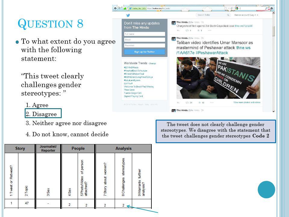 Q UESTION 8 2. Disagree 1.