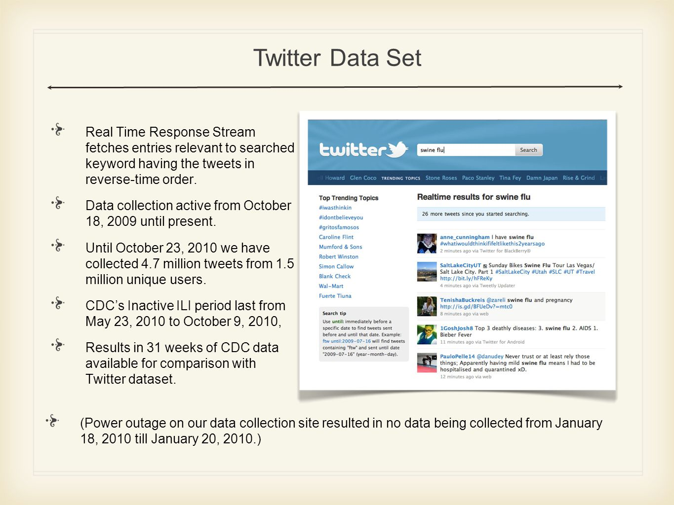 Spatio Temporal Database for Twitter Data Set Crawler uses Streaming Real time Search Application Programming Interface (API) to fetch data at regular time intervals.