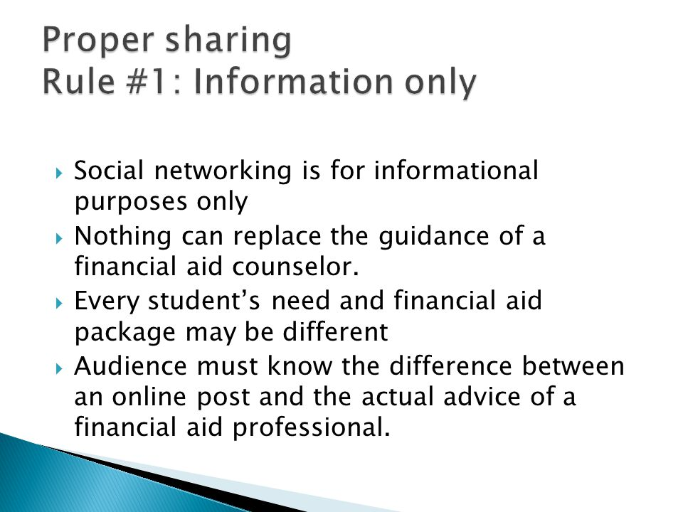  Social networking is for informational purposes only  Nothing can replace the guidance of a financial aid counselor.