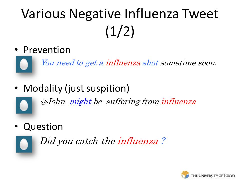 Various Negative Influenza Tweet (1/2) Prevention – You need to get a influenza shot sometime soon.