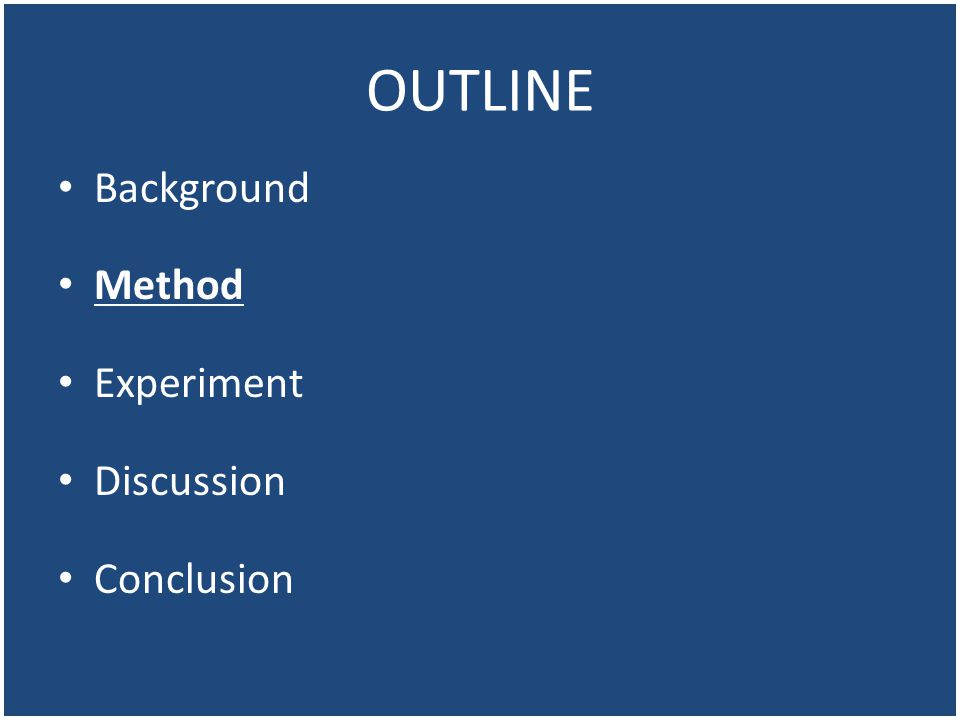 OUTLINE Background Method Experiment Discussion Conclusion
