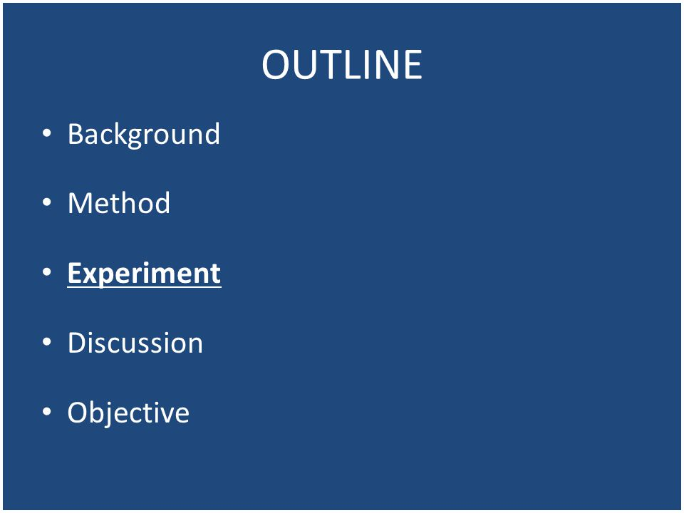 OUTLINE Background Method Experiment Discussion Objective