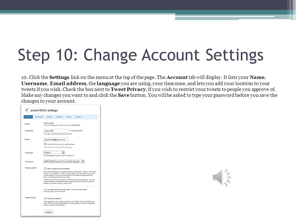 Step 10: Change Account Settings 10. Click the Settings link on the menu at the top of the page.
