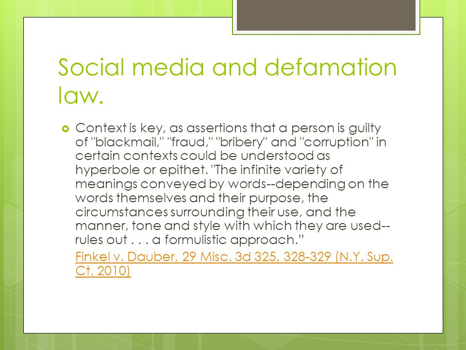 Social media and defamation law.