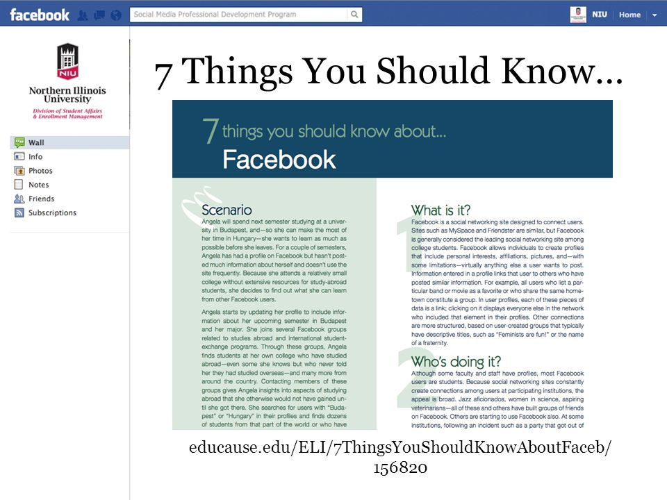7 Things You Should Know… educause.edu/ELI/7ThingsYouShouldKnowAboutFaceb/ 156820