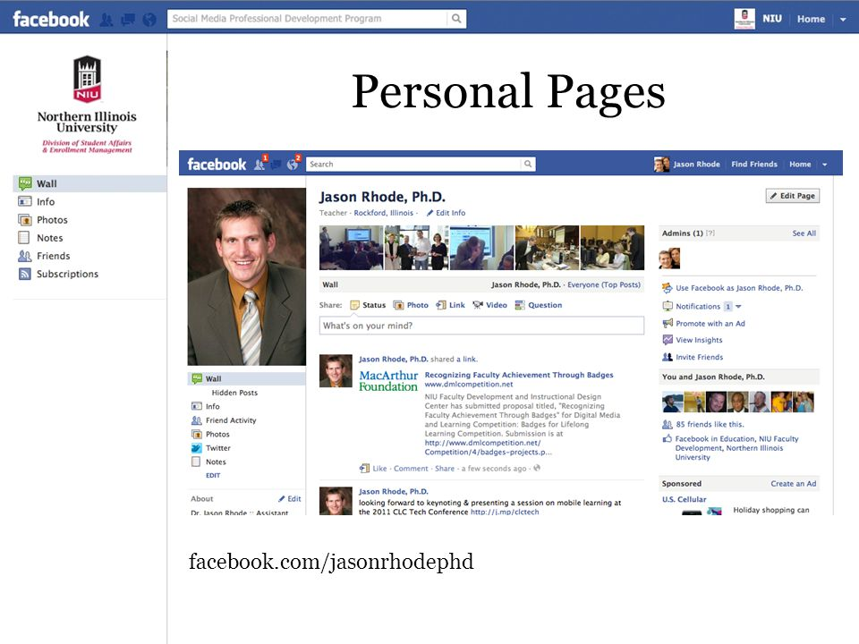 Personal Pages facebook.com/jasonrhodephd