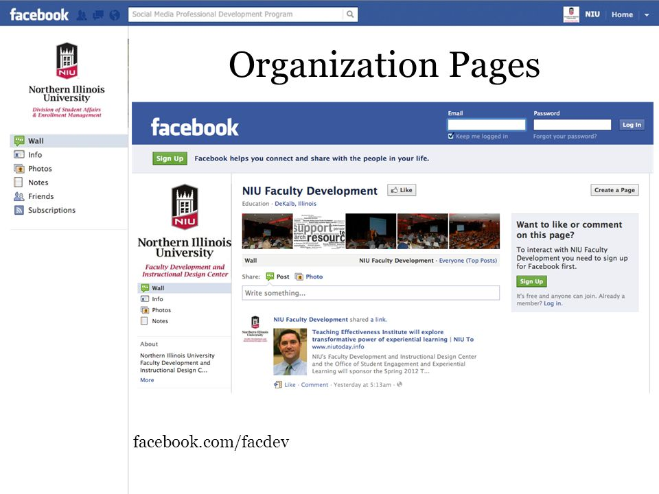 Organization Pages facebook.com/facdev