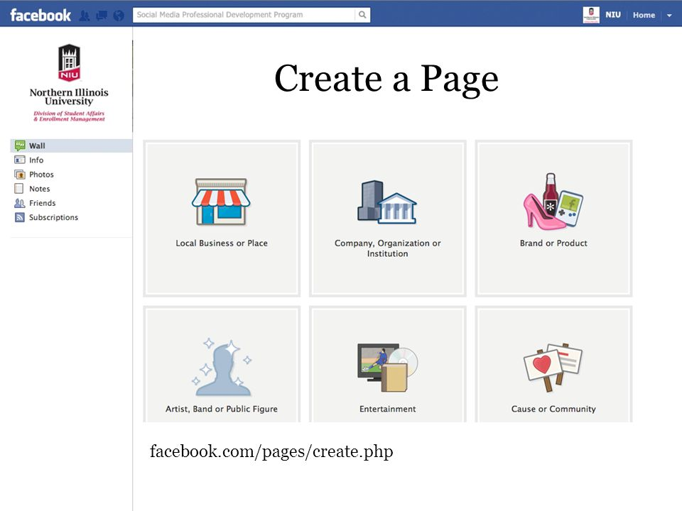 Create a Page facebook.com/pages/create.php
