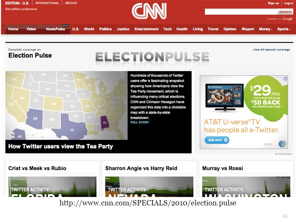 Election Coverage on Twitter http://www.cnn.com/SPECIALS/2010/election.pulse 46