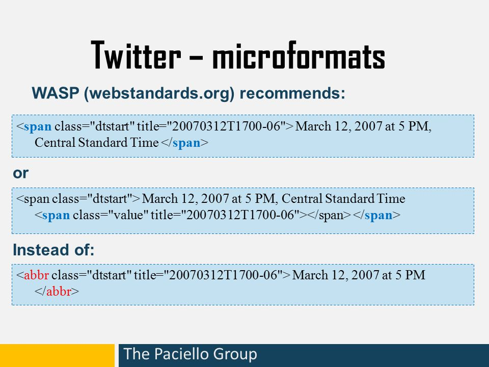 The Paciello Group Twitter – microformats March 12, 2007 at 5 PM, Central Standard Time March 12, 2007 at 5 PM WASP (webstandards.org) recommends: March 12, 2007 at 5 PM, Central Standard Time Instead of: or