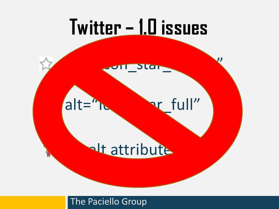 The Paciello Group Twitter – 1.0 issues not associated with anything Use of – unnecessary and useless Unnecessary duplication of links