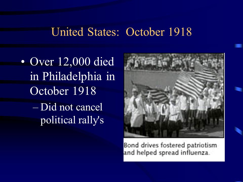 United States: October 1918 Over 12,000 died in Philadelphia in October 1918 –Did not cancel political rally s