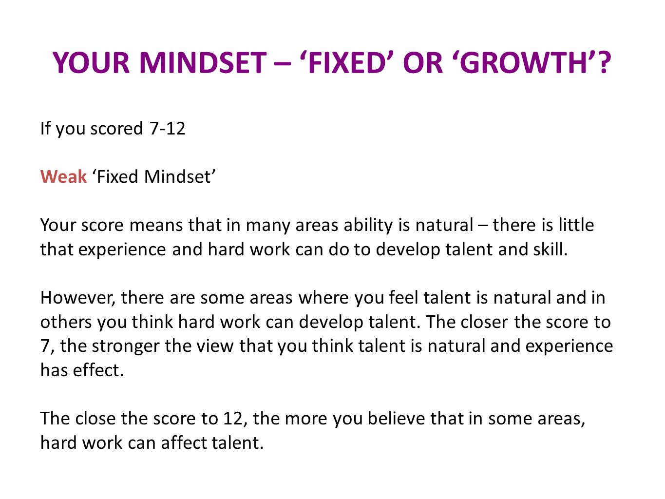 YOUR MINDSET – 'FIXED' OR 'GROWTH'.