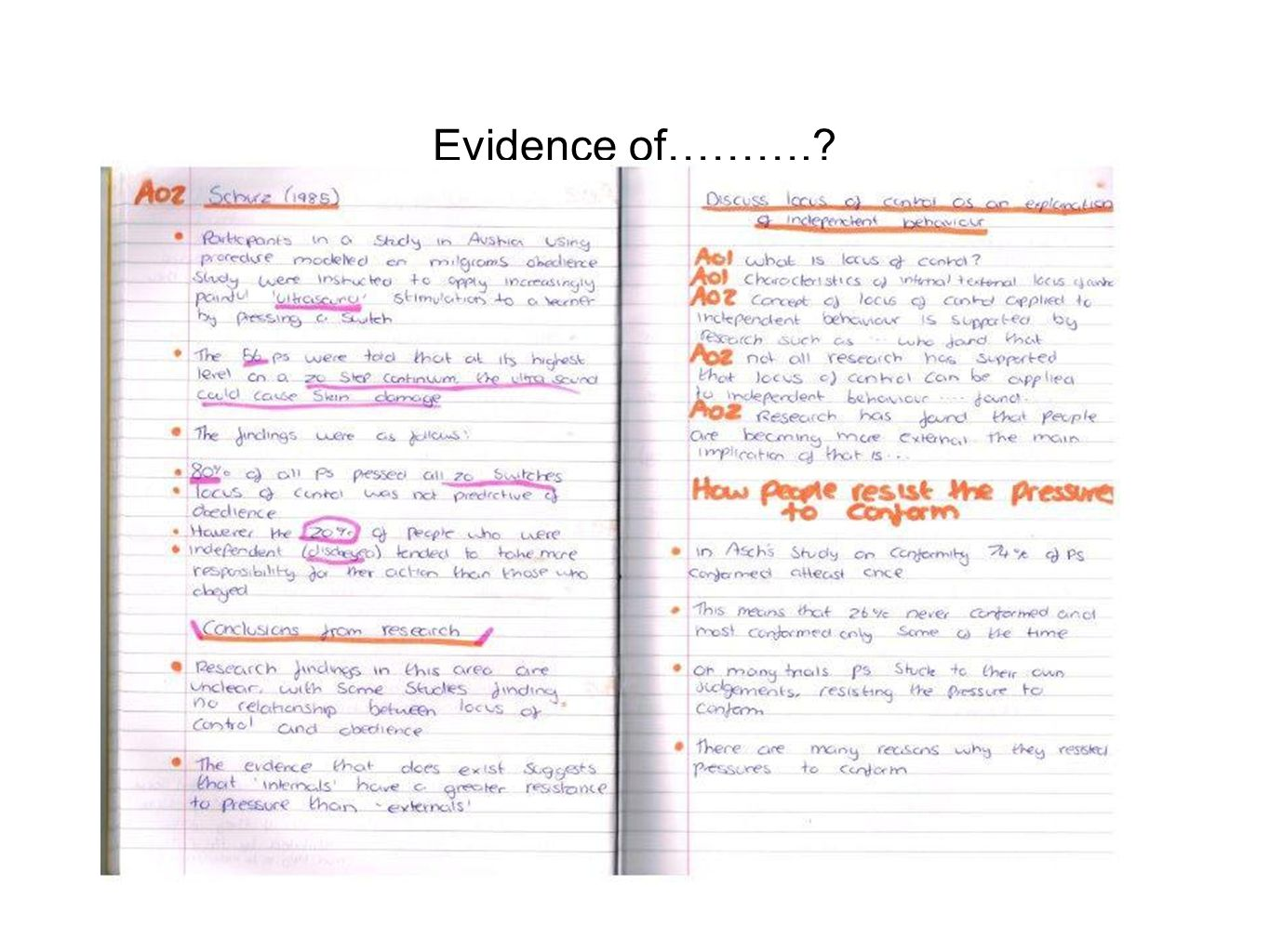 Evidence of……….?