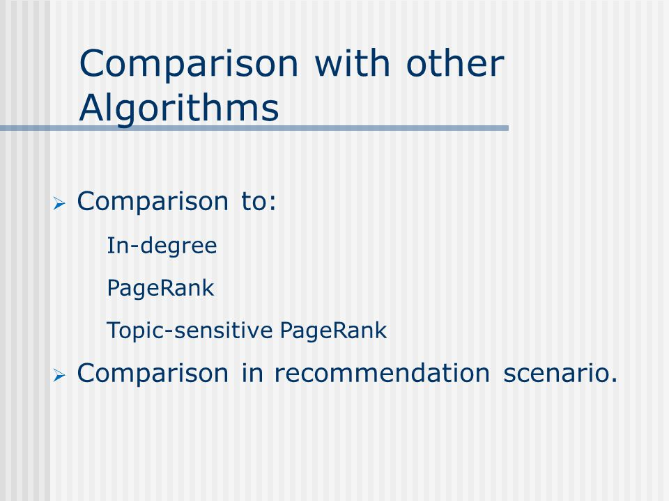 Comparison with other Algorithms  Comparison to: In-degree PageRank Topic-sensitive PageRank  Comparison in recommendation scenario.